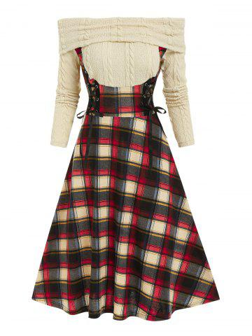 Off The Shoulder Lace Up Plaid  2 in 1 Dress - LIGHT YELLOW - XXXL