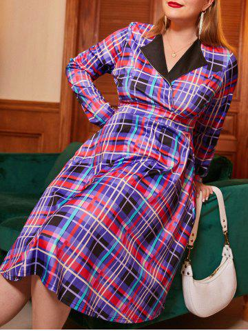 Long Sleeve Plaid Plus Size Surplice Dress - PURPLE - L