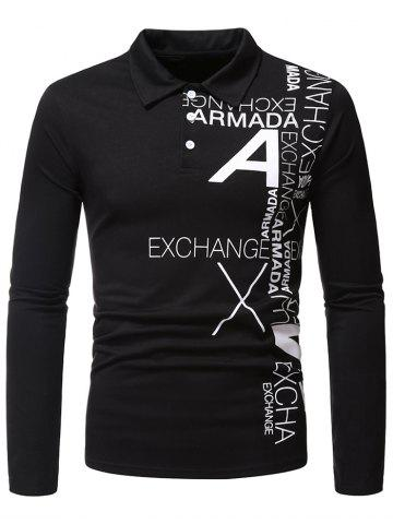 Letter Print Long Sleeve Turn Down Collar T Shirt