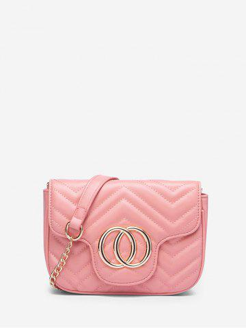 Circle Heart Pattern Quilted Crossbody Bag