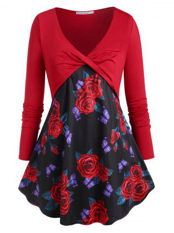 Twisted Front Rose Butterfly Plus Size Top - RED - 2X