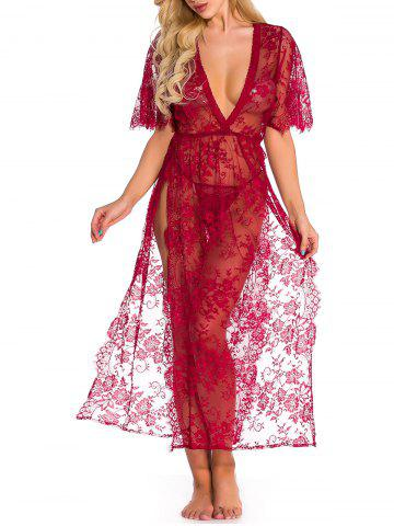 Sheer Lace High Slit Lingerie Gown - RED - L