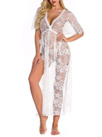 Sheer Lace High Slit Lingerie Gown - WHITE - M