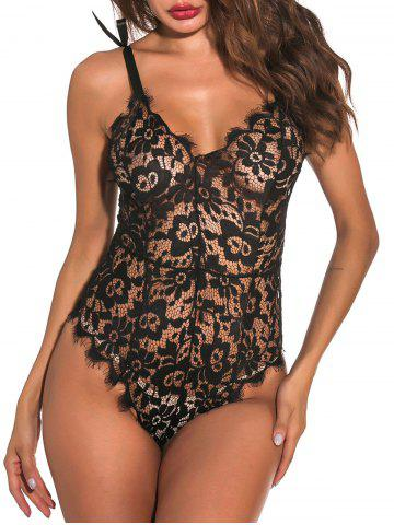 Tie Shoulder Scalloped Trim Lace Teddy - BLACK - 2XL