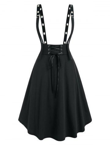 Plus Size Lace Up D Ring Grommet Suspender Skirt