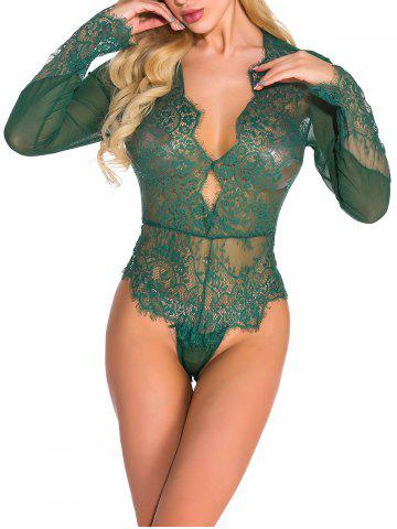 Lace and Mesh Keyhole Snap Crotch Teddy - DEEP GREEN - XL