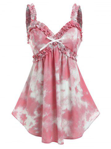 Plus Size Tie Dye Bowknot Frilled Backless Tank Top - LIGHT PINK - 2X