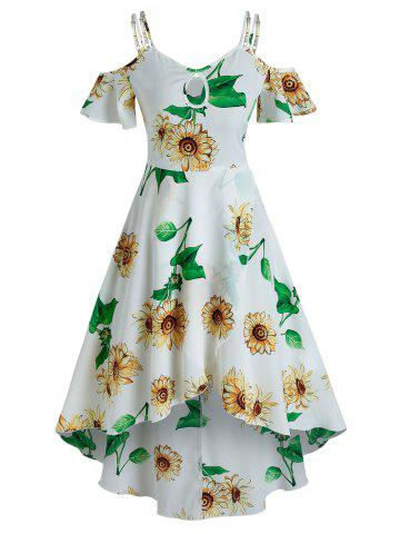 Cold Shoulder Sunflower Print Keyhole Overlap Dress