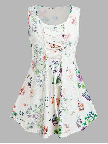Plus Size Flower Lace Insert Picot Trim Lace-up Tank Top - WHITE - 1X