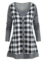Plus Size Marled Checked Faux Twinset T Shirt -
