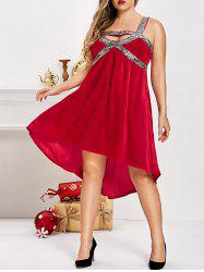 Plus Size Sparkly Sequined Velvet High Low Cutout Dress -