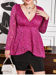 Overlap Front Plus Size Lace Surplice Blouse -