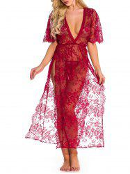 Sheer Lace High Slit Lingerie Gown -