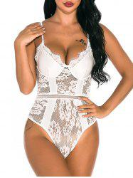 Sheer Lace Panel Snap Crotch Teddy -