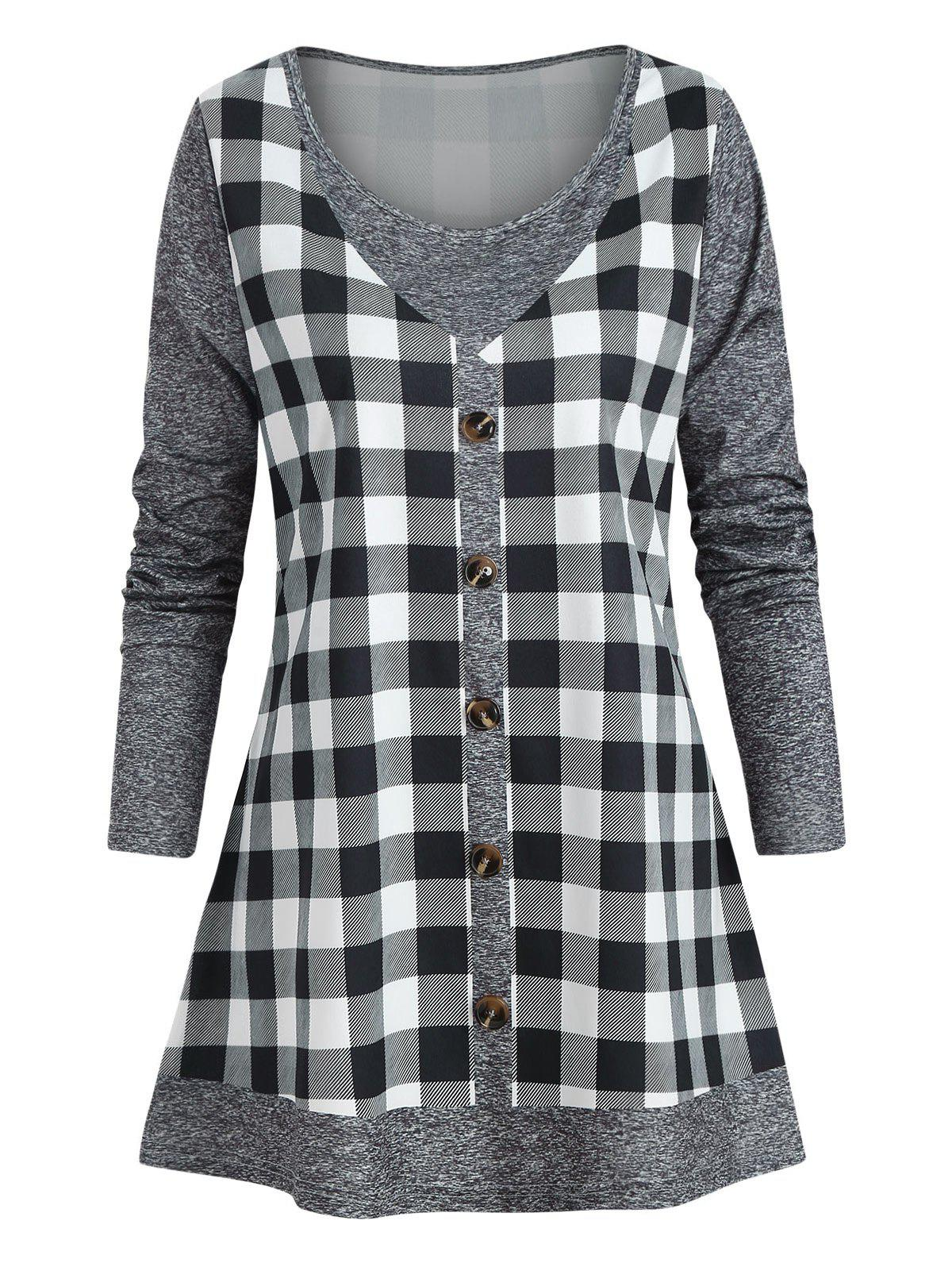 Store Plus Size Marled Checked Faux Twinset T Shirt