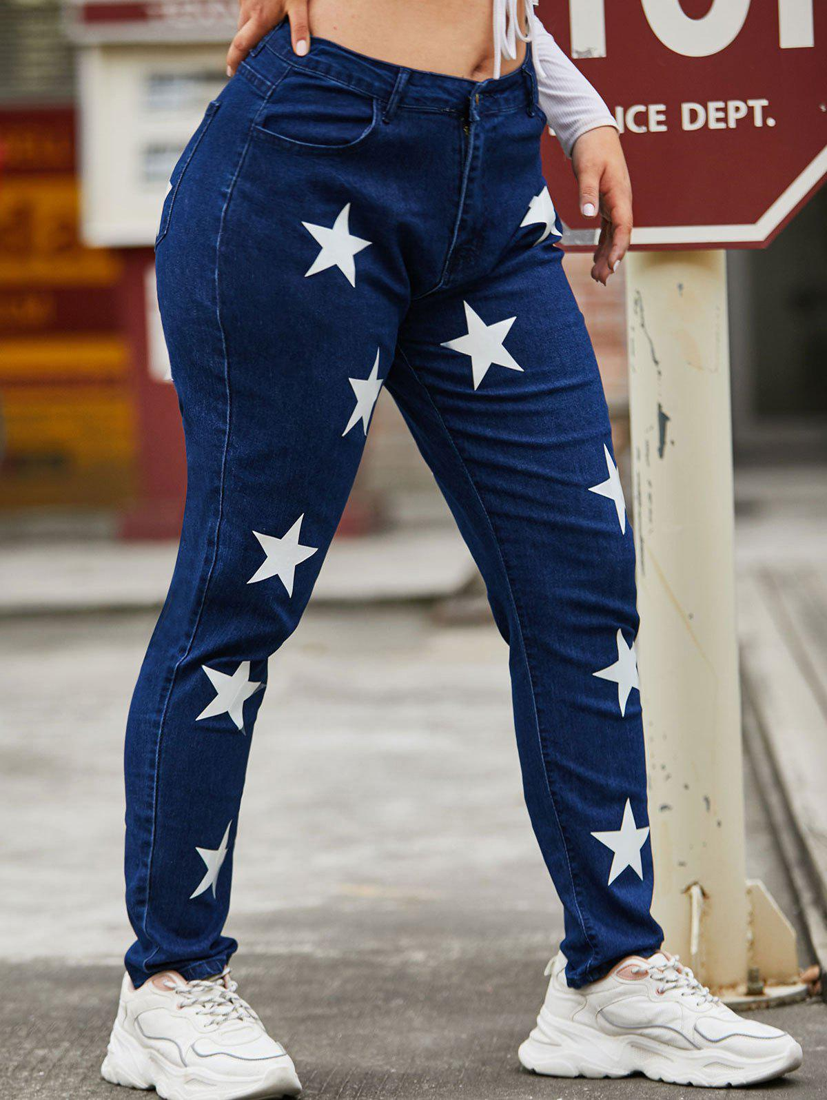 Discount High Waisted Star Plus Size Skinny Jeans
