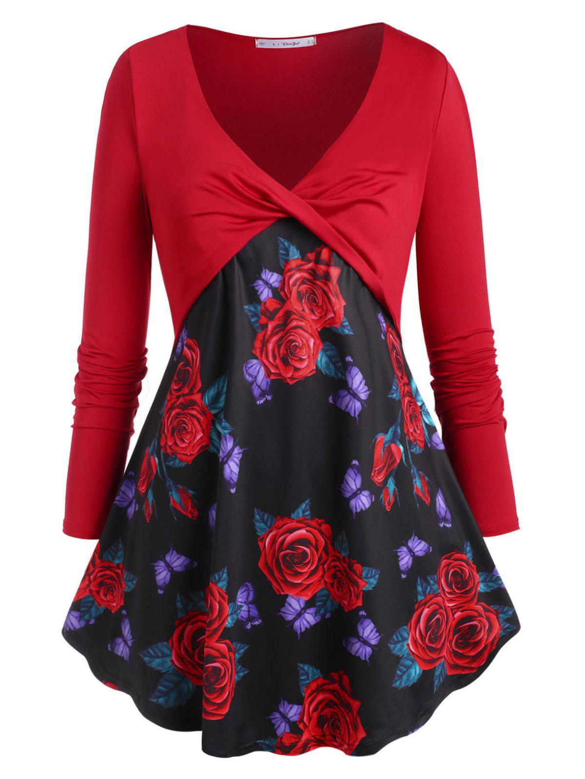 Best Twisted Front Rose Butterfly Plus Size Top