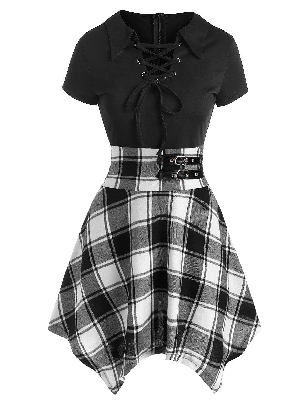Shops Lace Up Plaid Buckle Embellished Handkerchief Dress