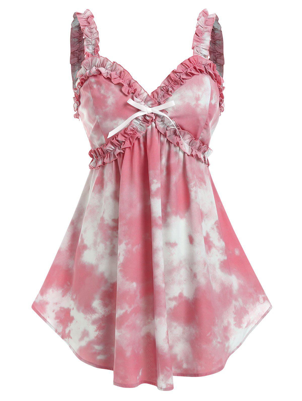 Discount Plus Size Tie Dye Bowknot Frilled Backless Tank Top
