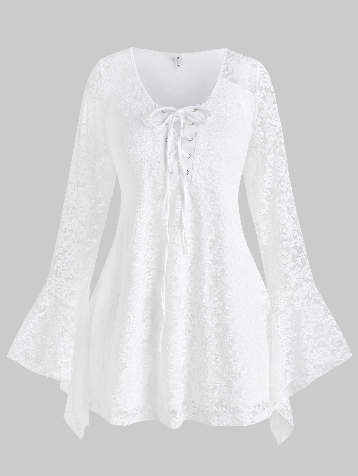 Trendy Plus Size Lace-up Flare Sleeve Lace T Shirt