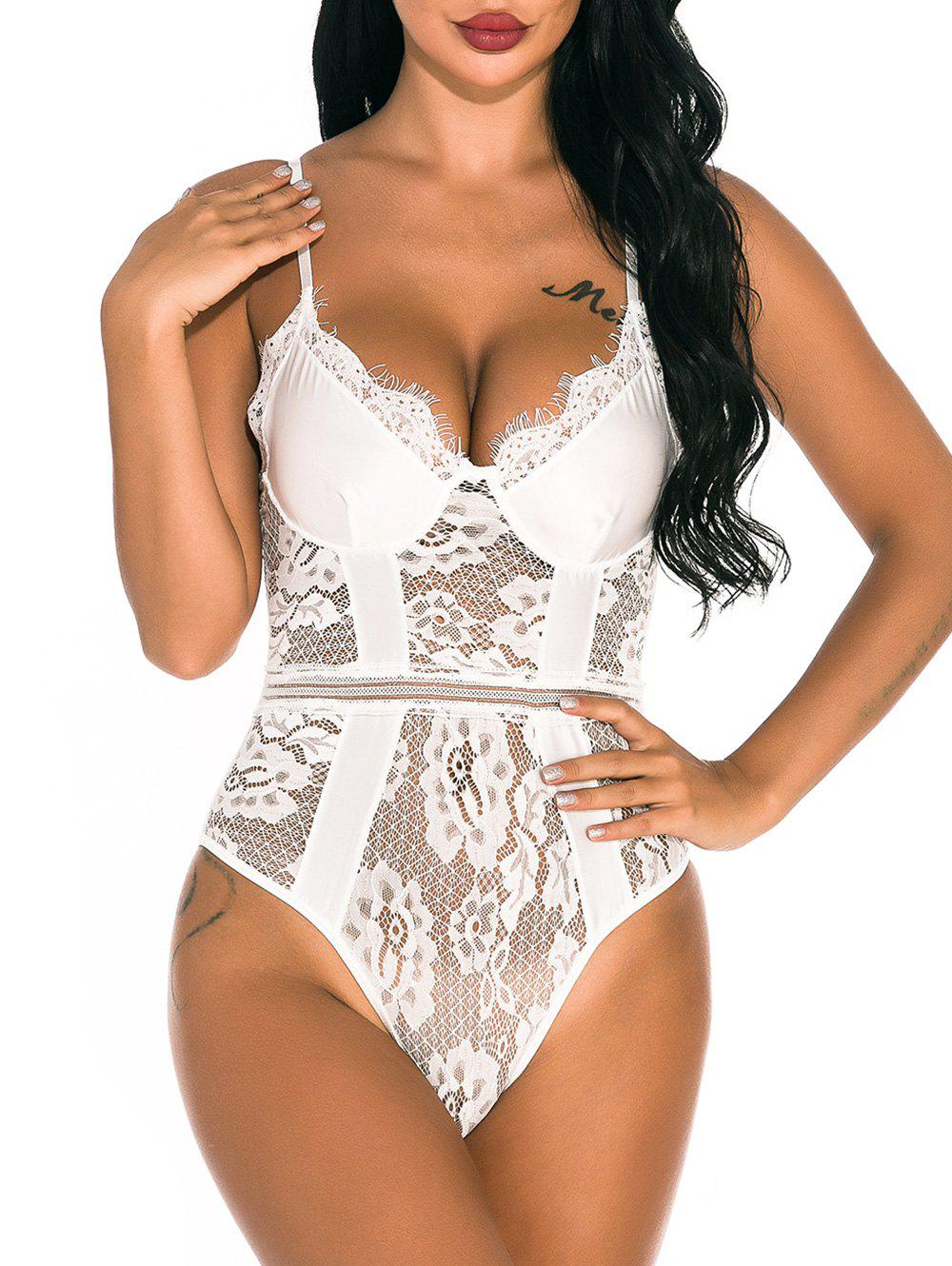 Affordable Sheer Lace Panel Snap Crotch Teddy