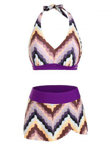Halter Chevron Pattern Skirtini Bikini Swimwear - CONCORD - 2XL
