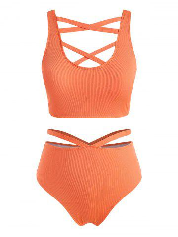 Plus Size Ribbed Crisscross Cutout Tankini Swimwear - ORANGE - L