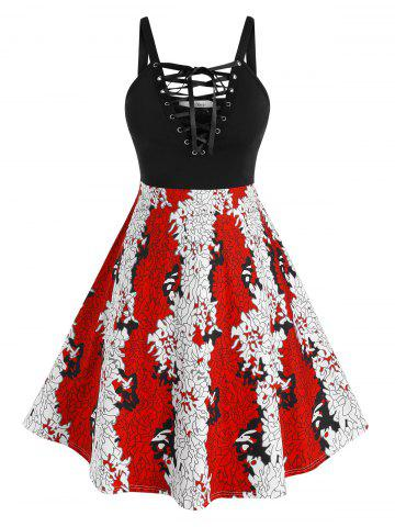 Plus Size Lace-up Printed Backless A Line Dress - MULTI - 4X