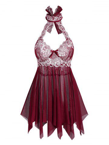 Halter Floral Lace and Mesh Flyaway Cutout Babydoll Set