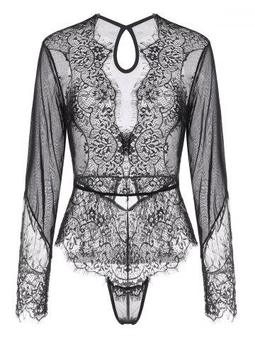 Lace and Mesh Keyhole Snap Crotch Teddy
