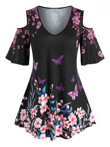 Plus Size Flower Butterfly Cold Shoulder Tunic Tee - BLACK - L
