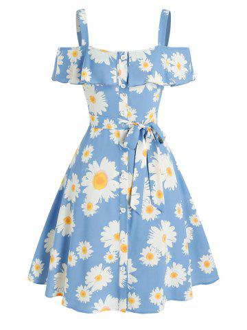 Cold Shoulder Daisy Print Ruffled Dress - LIGHT BLUE - M