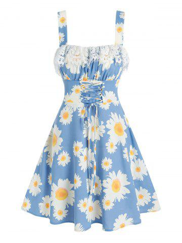 Floral Print Lace-up Lace Insert Sleeveless Dress - BLUE - L