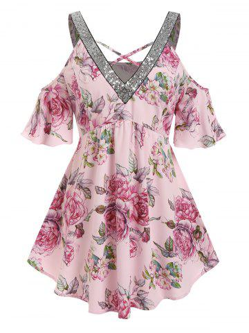 Plus Size Flower Glitter Sequined Cold Shoulder Tunic Blouse - LIGHT PINK - 4X