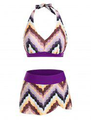 Halter Chevron Pattern Skirtini Bikini Swimwear -