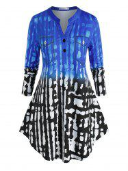 Plus Size Abstract Print Placket Curved Hem Tunic Tee -
