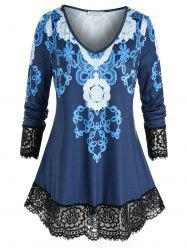 Plus Size Print Lace Eyelash Hem Sheer Tunic Tee -