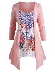 Plus Size Dreamcatcher Print Split Front Faux Twinset Asymmetrical T Shirt -