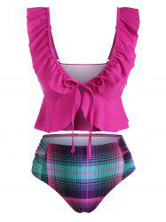 Ruffle Tie Plaid Ruched Tankini Swimwear -