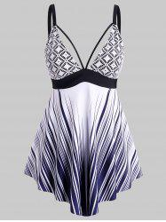 Plus Size Lace Overlay Striped Tankini Swimwear -