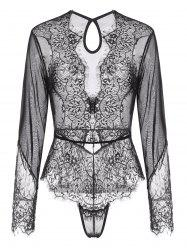 Lace and Mesh Keyhole Snap Crotch Teddy -