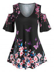 Plus Size Flower Butterfly Cold Shoulder Tunic Tee -