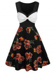Colorblock Bowknot Flower Printed Flare Dress -