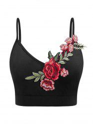 Plus Size Embroidery Flower Applique Cropped Cami Top -