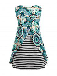 Plus Size Flyaway Abstract Striped Print Tunic Tank Top -