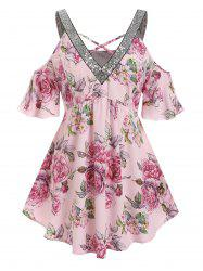 Plus Size Flower Glitter Sequined Cold Shoulder Tunic Blouse -