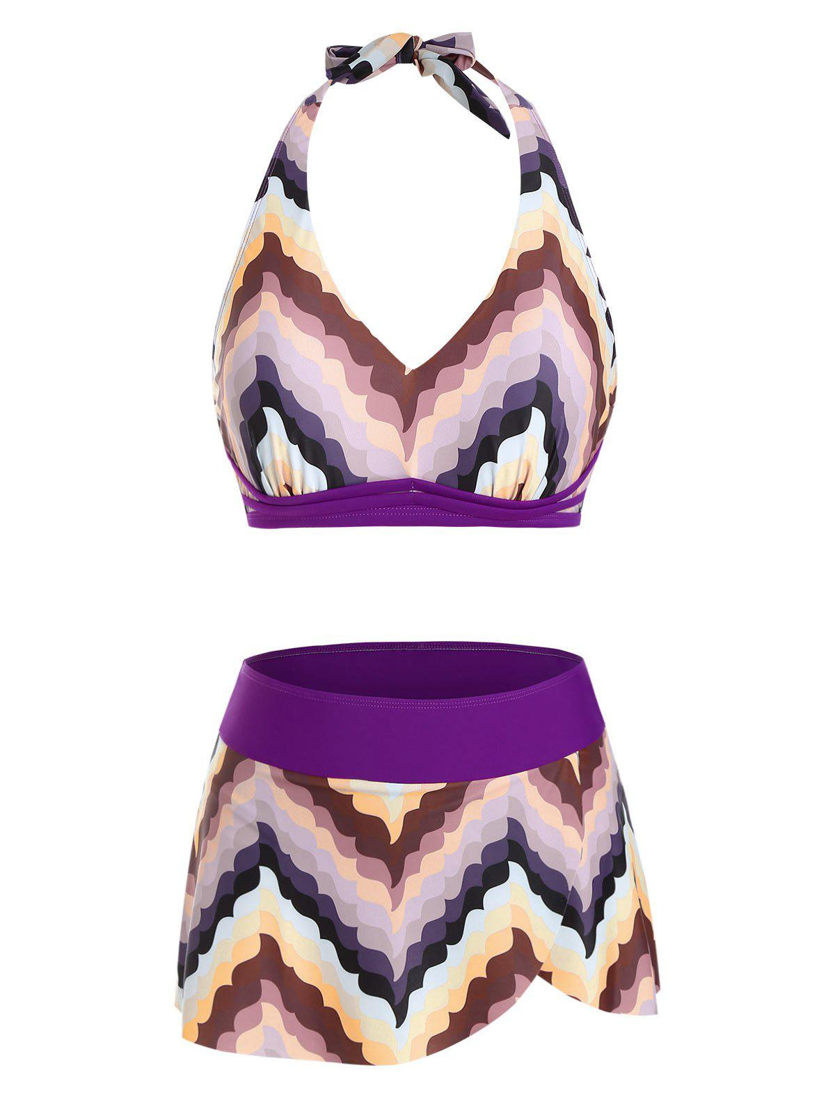 Unique Halter Chevron Pattern Skirtini Bikini Swimwear