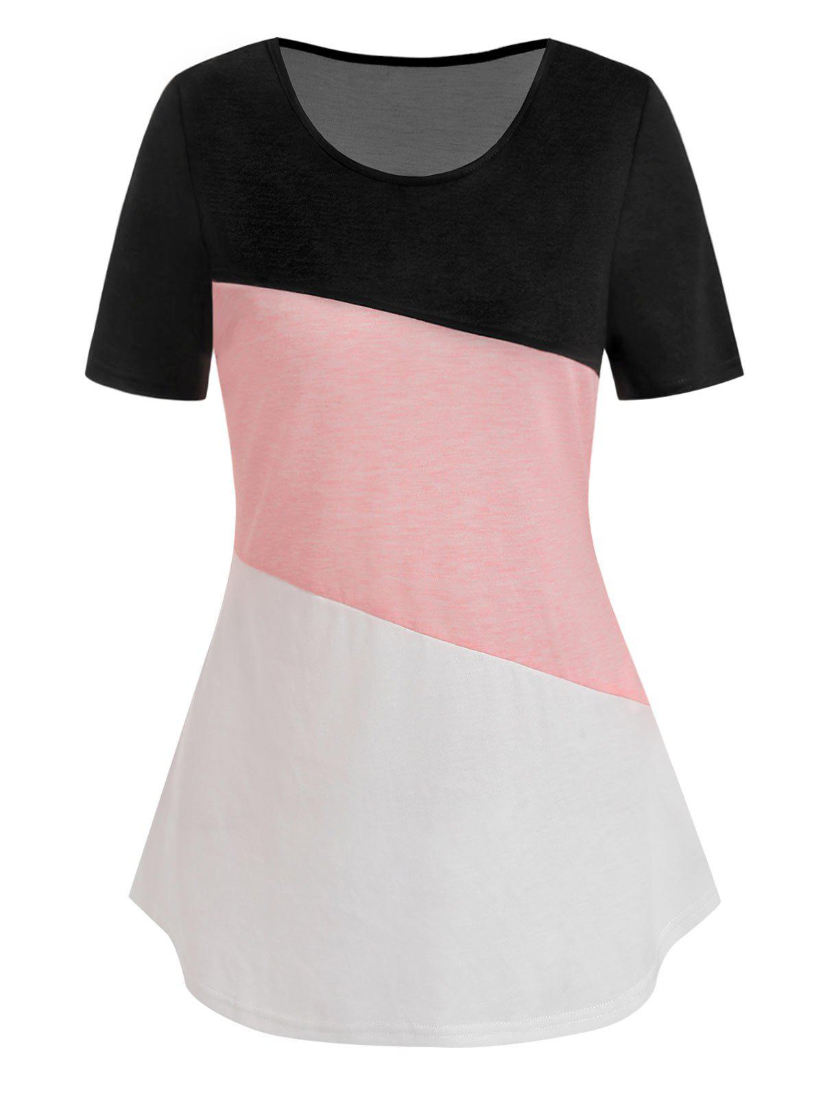Chic Curved Hem Contrast Heathered T-shirt