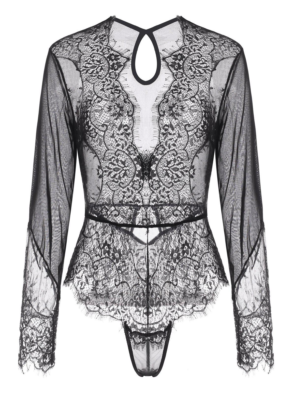 Unique Lace and Mesh Keyhole Snap Crotch Teddy