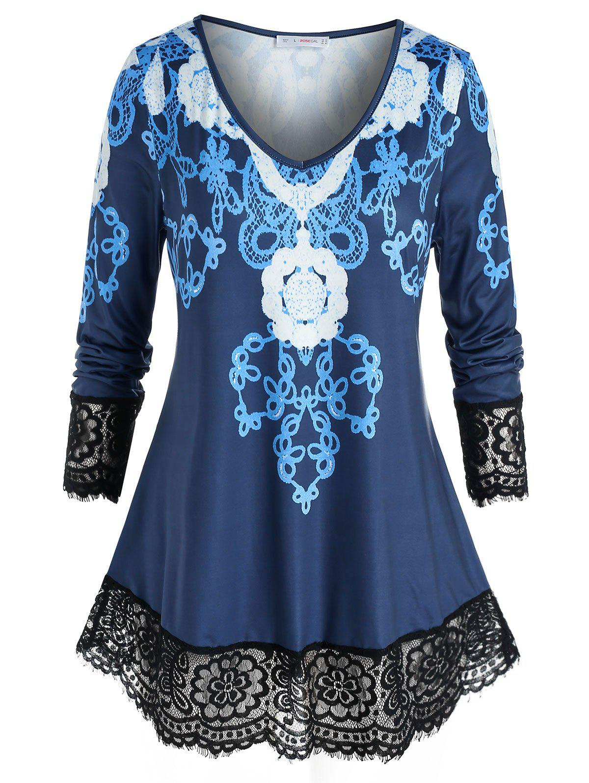 Fashion Plus Size Print Lace Eyelash Hem Sheer Tunic Tee